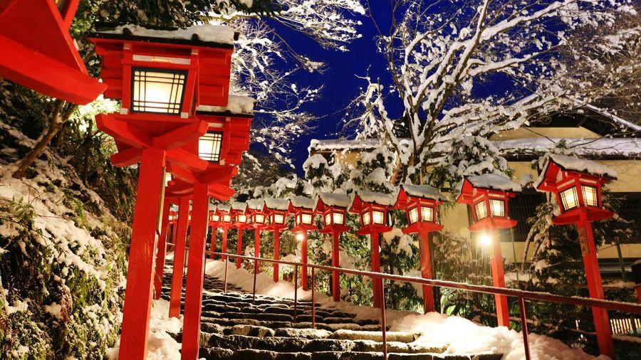 京都貴船神社點燈 點燈了~(^o^)/ 雪景色