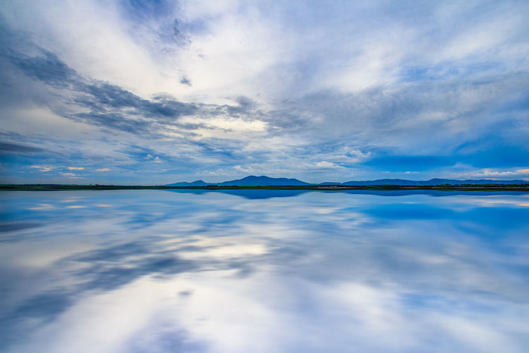 Blue lake Beauty In Nature Blue Cloud - Sky Day Horizon Over Water Lake Nature No People Outdoors Scenics Sky Tranquil Scene Tranquility Water Waterfront
