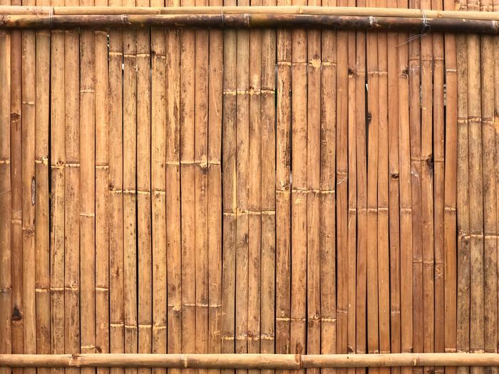 Bamboo strips wallpaper with cross bar on top and bottom Bamboo Wood - Material Textured  Pattern Brown Backgrounds Full Frame Outdoors Door Protection Wood Grain Close-up No People Old-fashioned
