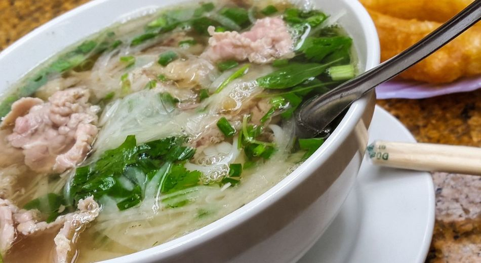 Pho Soup In Bowl On Plate