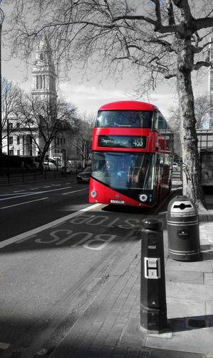Transportation Travel Red City London Double Decker Bus Doubledecker Transport Blackandwhitebackground Great Britain Marylebone Station
