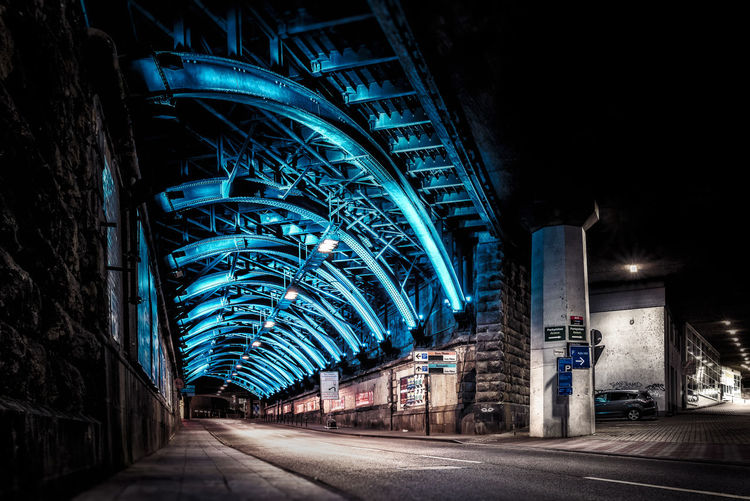 Architecture Blue Bridge - Man Made Structure Building Exterior City Illuminated Night No People Outdoors Side Street Steel Construction Tunnel First Eyeem Photo