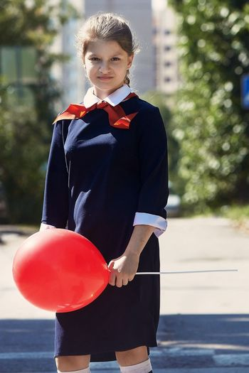 Russia School Young Adult Red One Person Young Women Happiness Standing Outdoors Sport Real People Day Well-dressed City Adult People Adults Only