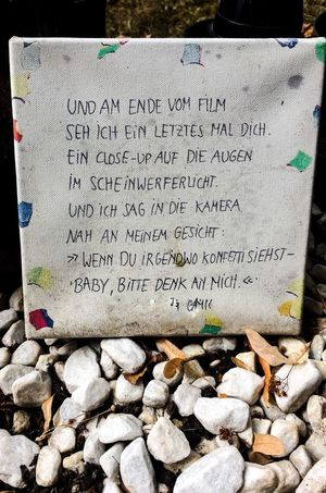Am Ende vom Film PhonePhotography EyeEmBestPics Text Communication Day Solid Stone No People Western Script Stone - Object High Angle View Outdoors Memorial Information Nature Non-western Script Transfer Print Message Close-up Script Rock Tombstone