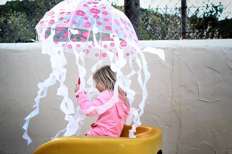 Girl Umbrella Holding Childhood Jellyfish Dressing Up Costume Homemade Playing Slide Child Outdoors Outfit