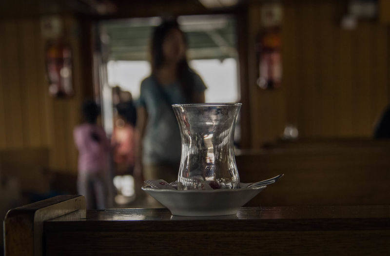 Turkish Tea Glass On Wooden Table At Cafe
