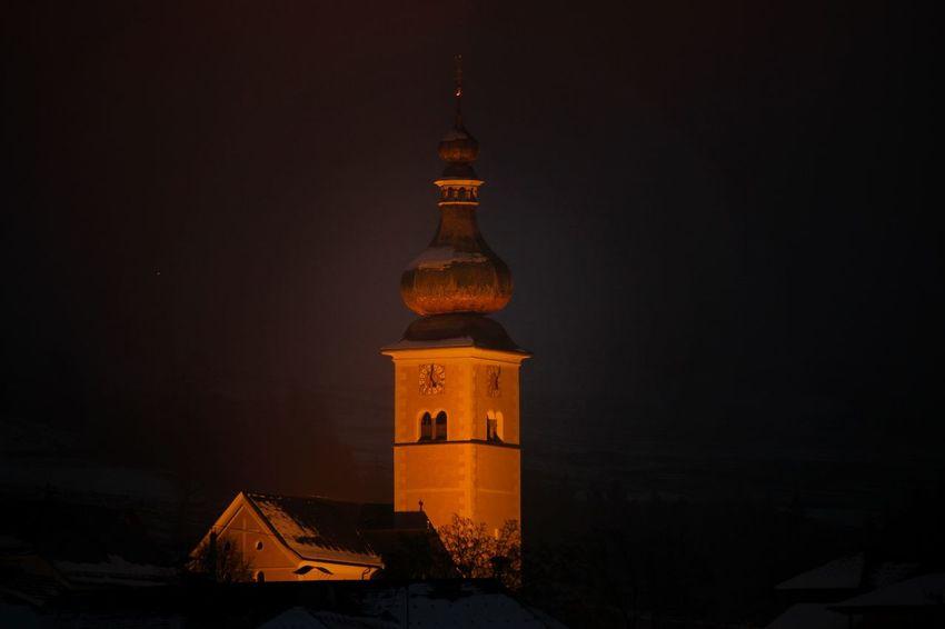 Church Cityscape Clock Illuminated Clock Tower Clock Face Façade Tall - High Tower