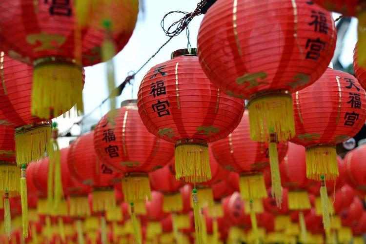 Low Angle View Of Red Lanterns At Thian Hock Keng