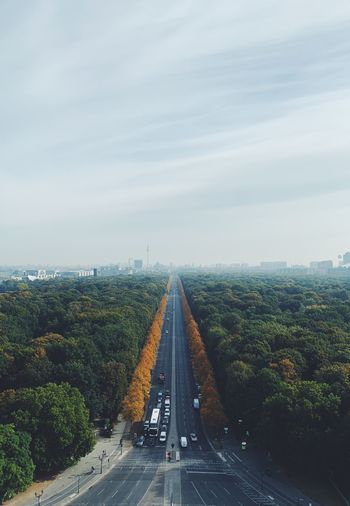 Copy Space Golden Tiergarten Fall Berlin Autumn View Sky Transportation Nature Road Diminishing Perspective The Way Forward Tree Direction Day City Land Vehicle vanishing point Motor Vehicle Car Plant Mode Of Transportation No People Architecture Sign Cloud - Sky