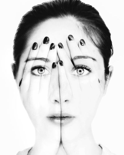 #Surréalisme #surreal Beautiful Woman Close-up Front View Headshot Human Body Part Human Eye Human Face Human Hand Lifestyles Looking At Camera Multiple Image One Person People Portrait Real People Studio Shot White Background Young Adult Young Women
