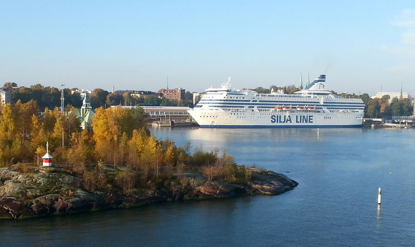 Silja Line ferry in Helsinki, Finland Finland Finland, Baltic,Suomi,Helsinki,Helsingfors, Harbour, Harbor,harbours, Baltic,transport, Shipping,ferry,ferries,boat, Boats, Silja, Tallink Silja, Destination, Destinations, Cruise, Cruising, Port,ports, Capital,capital City,city,cities, Silja Line, Ferry, Overnight Ferry, Boat Travel, Travel, Destinations, Northern, Hamn, Harbour, Clear Sky Day Mode Of Transport Nature Nautical Vessel No People Outdoors Transport,shipping, Travel,arrival,departure,international Transportation Water