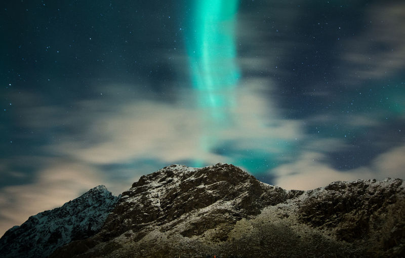 Scenic view of aurora borealis and mountains against sky at night
