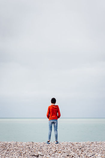 Rear view of man standing on sea against sky
