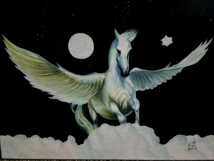 "My dear good friend Andrea post this amazing image while ago, loved it and i asked permission to paint Andrea ok me and here is the flying white horse , Thanks Andrea .oil on canvas 18""_24"". Close-up White Horse Portrait Space Flying Over The Clouds Sky Painting Drawing Creativity Art, Drawing, Creativity Art My Art Collection Fine Art Freedom Fine Art Painting Beauty Motion Fantzy Art. Friendship. ♡   Love❤ Koi with My Best Friends ❤"