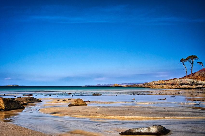 Solitude Blue Sky Summer Low Tide Seascape Scotland Camusdarach Water Sky Land Beauty In Nature Scenics - Nature Blue Sea Beach Tranquility Nature