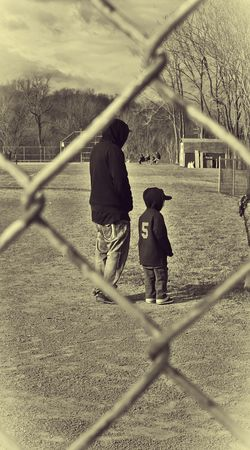 Father & Son Thru The Fence Enjoying Life Father & Son at First Day of T-Ball - Old Style Edit, Just Around the Corner