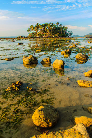 Lonely remote island with rock beach. Beautiful rocky coastline with full of stones on the beach when the sea water receded with dramatic blue sky background on the cloudy day. Coastline Coastline Landscape Coastline Nature Water Lonely Lonely Island Lonely Place  Peaceful View Rock Beach Sea Rocky Beach Rocky Coastline Rocky Shore Coastline Sky Lonelyplanet Peaceful Peaceful Nature Peaceful Place Rock Beach Rocky Coast Rocky Landscape