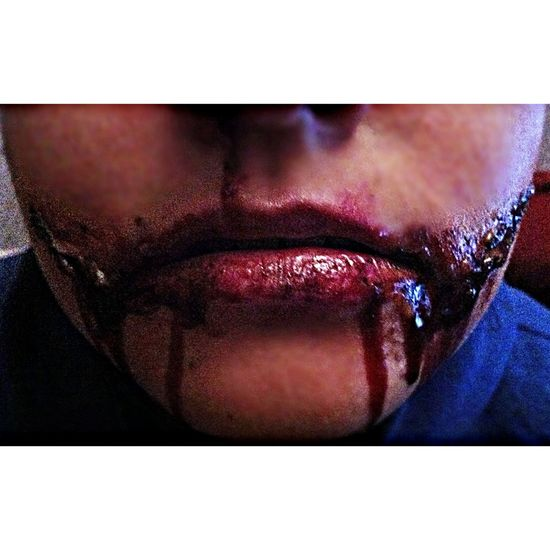 practised doing my halloween makeup on my sister Horror Halloween Blood Gorey