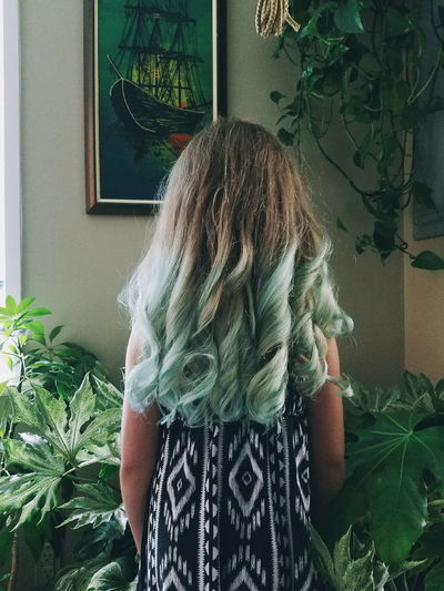 AFTER // At home salon One Person Indoors  Lifestyles Day Young Adult Child Girl Hair Hairstyle Hair Color Plants Living Room Indoor Jungle One Girl Only