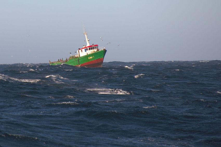 Fishery boat off Cape Blanc, Mauretania Atlantic Ocean Fishery  Fishery Vessel Mauretania Ocean Sea Stormy Weather Water