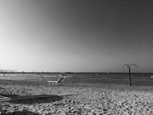Beach Clear Sky Sand Sea Nature Outdoors Water Tranquility Tranquil Scene No People Beauty In Nature Sky Fano Italy Blackandwhite