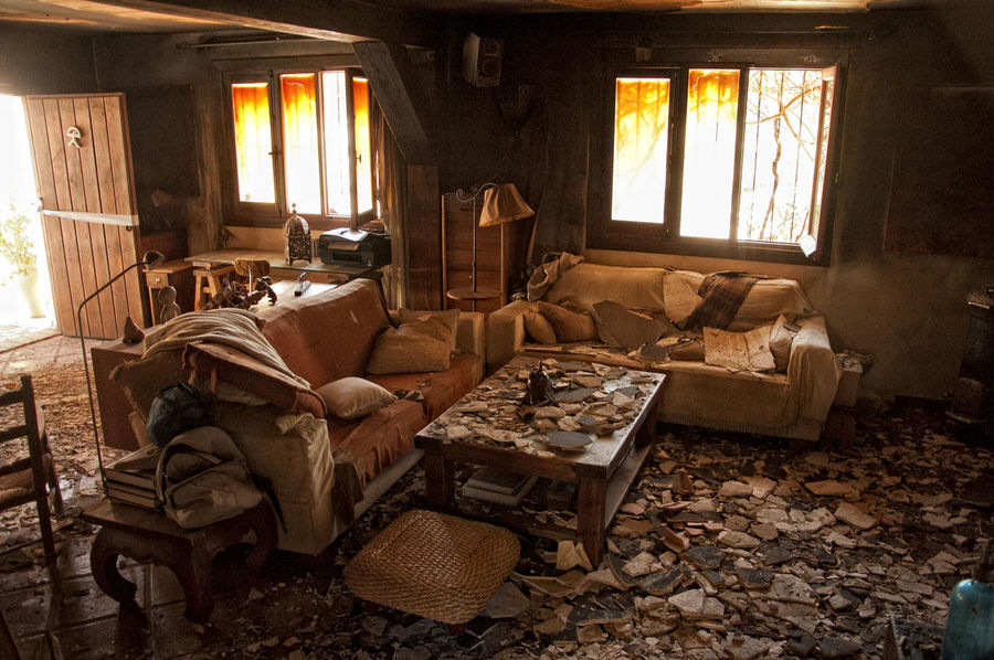 After The Fire Burned Damaged Architecture Abandoned Burned Items Burned Objects Burned Stuff Chair Curtain Damaged Damaged Building Damaged By Fire Damaged By Smoke Damaged Stuff Domestic Room Electric Lamp Furniture Home Home Interior House Living Room Messy No People Sofa Window