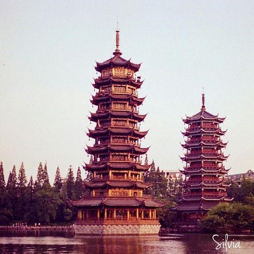 Sun_and_moon Twin_pagoda by Canon AE -1 kodak_film nofilter travel guilin china landmark instagood instatravel all_shots