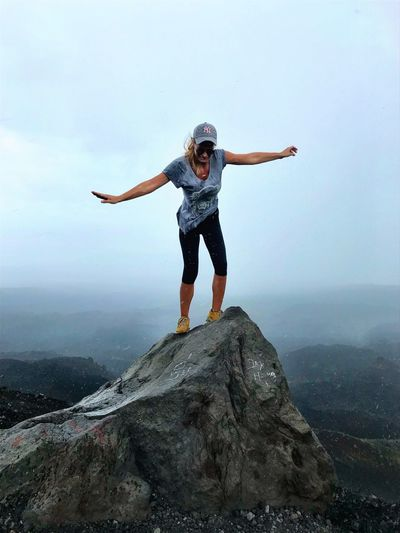 Full Length Arms Outstretched Rock - Object One Person Landscape Standing Young Women Energetic Determination Challenge Challenging Adventure Adrenaline Junkie Risky Cerro Negro Volcanic Crater Nicaragua Volcano Volcanic Landscape Volcanic Landforms Lava Field Volcanic Rock Scenics Power In Nature Hiking