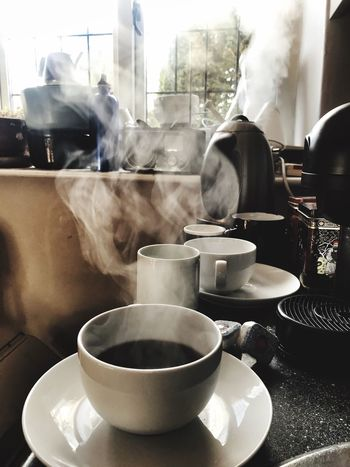 Coffee in the morning Smoke - Physical Structure Food And Drink Steam Drink Coffee Cup Refreshment Heat - Temperature Indoors  Close-up Tea - Hot Drink Table No People Saucer Breakfast Freshness Day Healthy Eating Food Coffee Coffee Steam