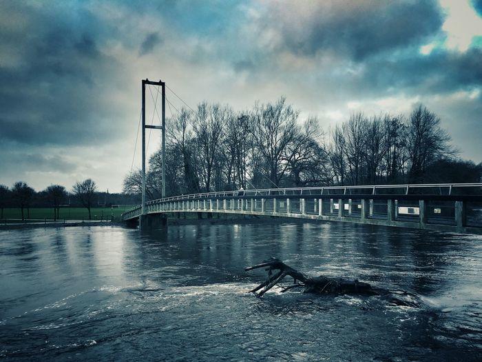 Blackweir Bridge Bridge Clouds Connection Dramatic Sky Footbridge River Water