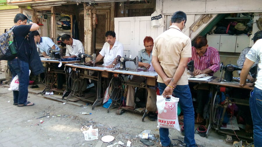 Mens Tailors Tailor Man Machines Clothes Outdoors Business Morning Market