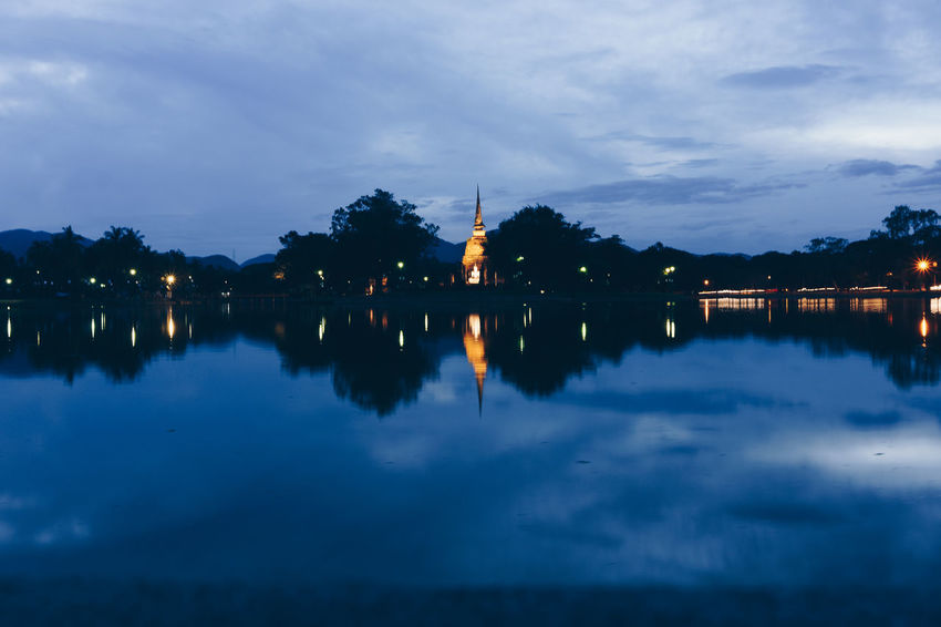 Reflection Sky Water Architecture Built Structure Cloud - Sky Building Exterior Illuminated Nature Waterfront Building Dusk No People City Lake Travel Destinations Tourism Outdoors Religion Spire