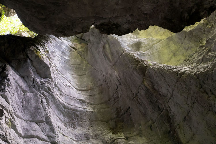 Low angle view of rocks in cave