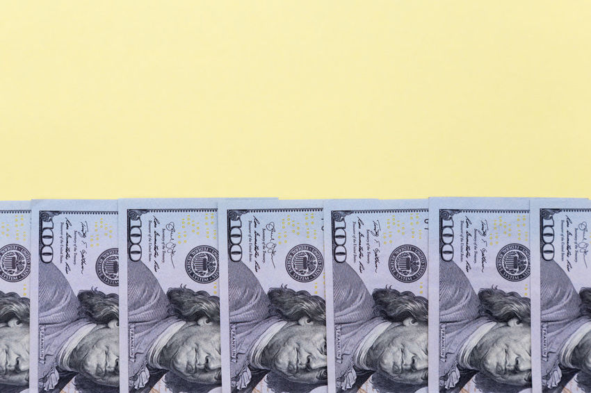 american dollars on a color background - banknotes of hundred dollar bills Mock Up Mockup Abundance Prosperity American Budget Business Copy Space Currency Economy Jackpot USD Assets Background Cash Colorful Copy Space Credit Dollar Dollars Finance Financial Money No People Retirement Savings Tax Yellow Yellow Background Us Currency