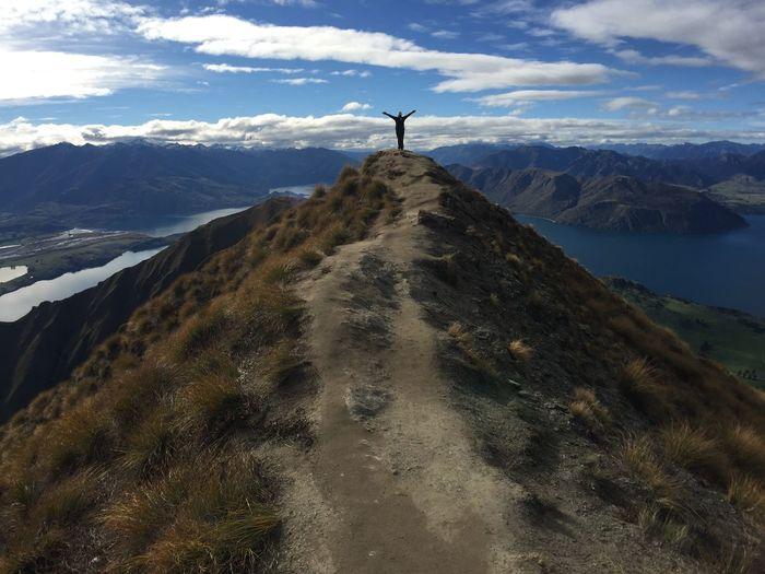 Roys Peak Mountain Hiking Top View Outdoors One Person Human Arm Mountain Peak Mountain Range