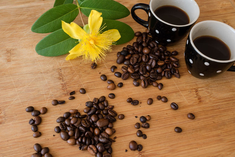Directly above shot of coffee beans on table