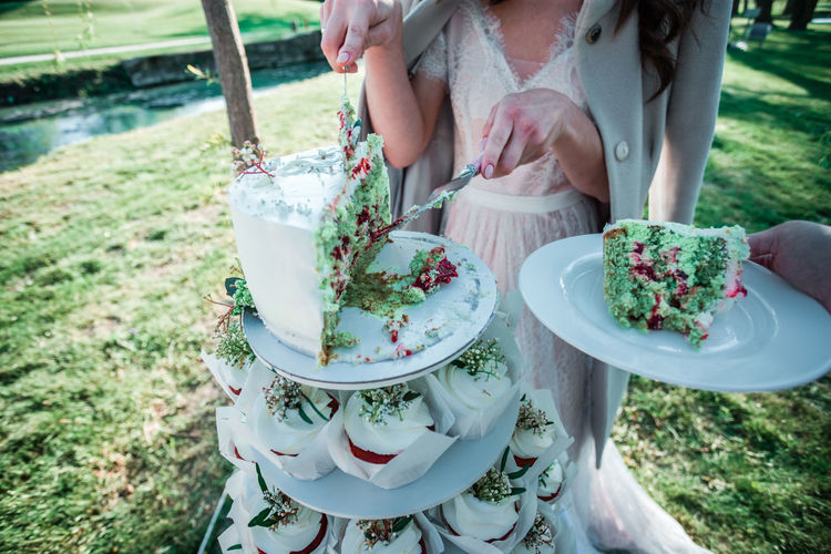 Low section of woman serving slice of cake at park