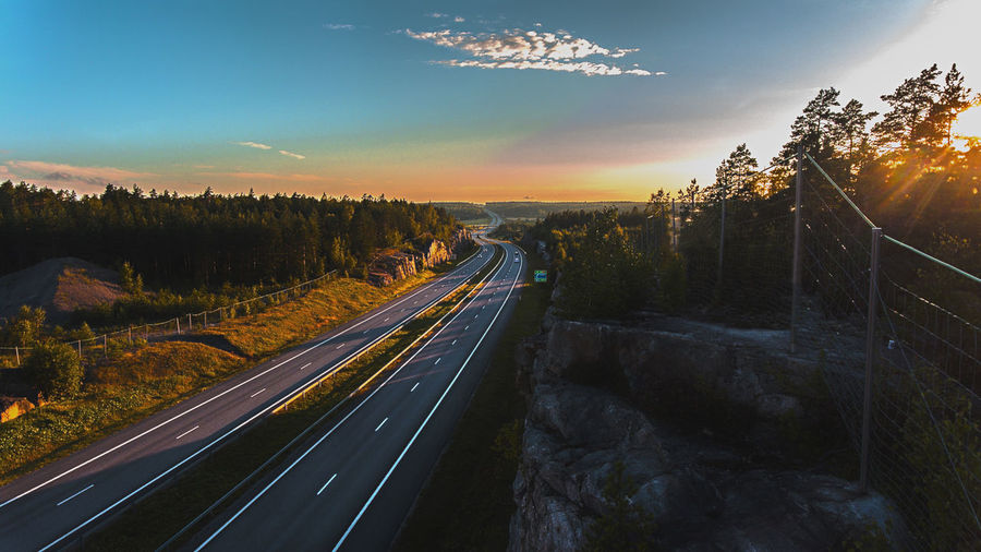 Aerial Photography Aerial Shot Aerial View Finland Forest Highway Landscape Nature No People Outdoors Road Rock Salo Sky Sunrise Sunset Suomi Transportation Tree Winding Road