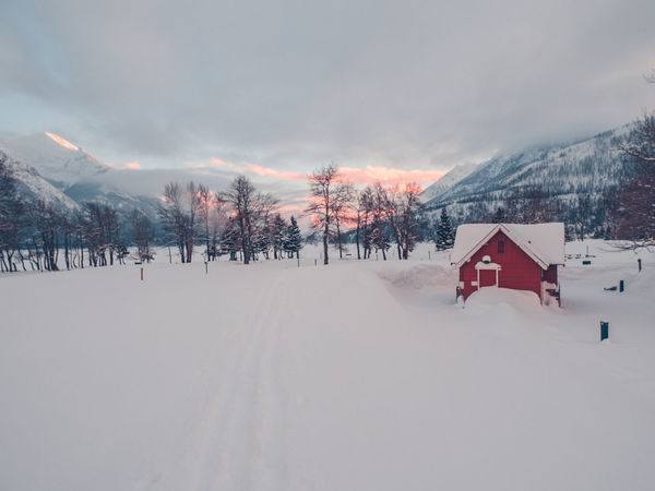 Waterton Park Snow ❄ Waterton Waterton Lakes National Park Beauty In Nature Cold Temperature Lake Park Red Color Red Jacket Snow Sunset White Winter