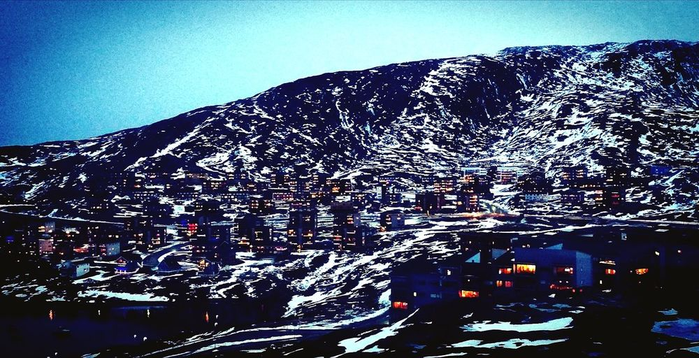 Qinngorput at dusk, in Nuuk, Greenland Snowscape Arctic City Dusk Christmas Lights No People Day Outdoors Nature first eyeem photo