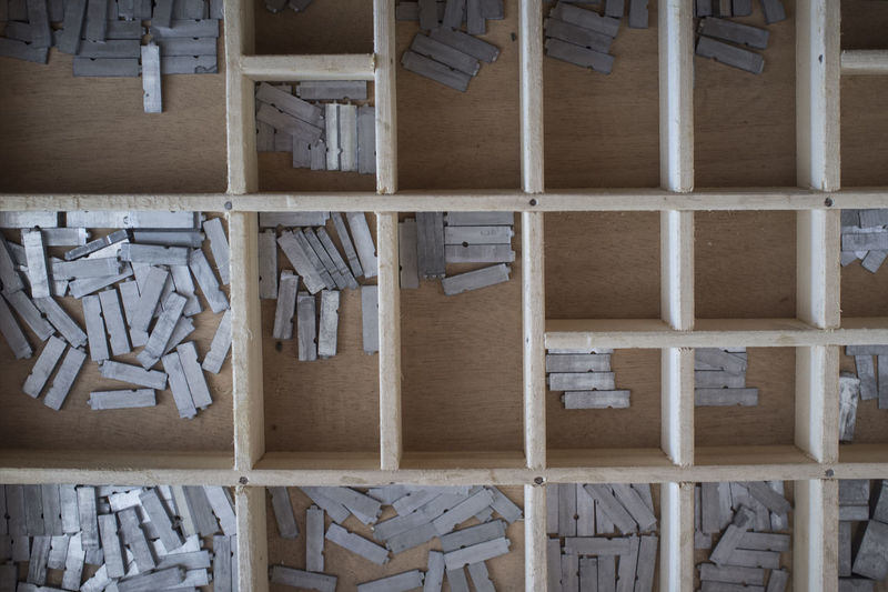 Stack of wooden wall in building