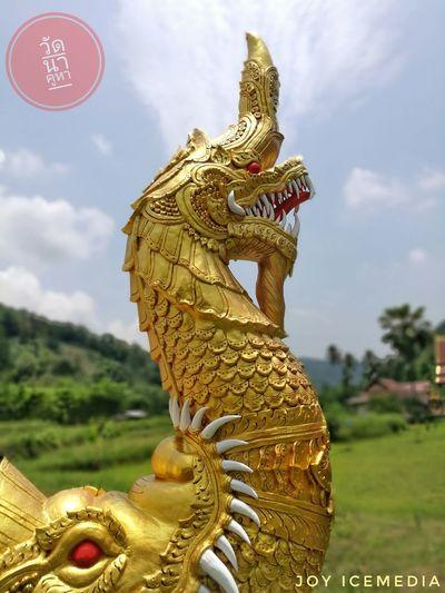วัดนาคูหา จ.แพร่ Thailand Religion Statue Spirituality Sculpture Gold Sky No People Day Outdoors
