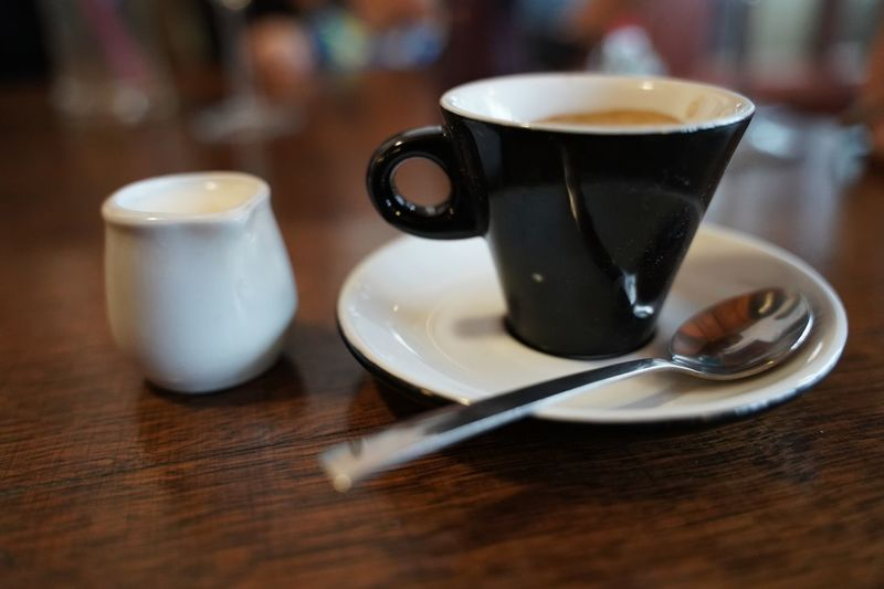 Espresso coffee Espresso Drink Table Kitchen Utensil Food And Drink Coffee - Drink Mug Coffee Cup Coffee Cup Spoon Close-up Indoors  Hot Drink