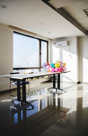 View of balloons on table