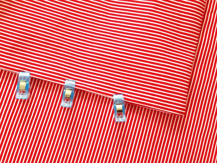 Close-up of red striped fabric