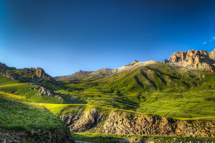 Green Gras Alpen Alps Beauty In Nature Blue Clear Sky Climbing France Grass Green Color Hiking Hill Holiday Idyllic Landscape Mountain Mountain Range Mountains Nature Non-urban Scene Rock - Object Rock Formation Scenics Tranquil Scene Tranquility Vacation