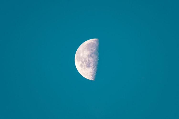 Moon // Day Moon Low Angle View Half Moon Sky Night Clear Sky Moon Surface Outdoors No People Beauty In Nature Astronomy