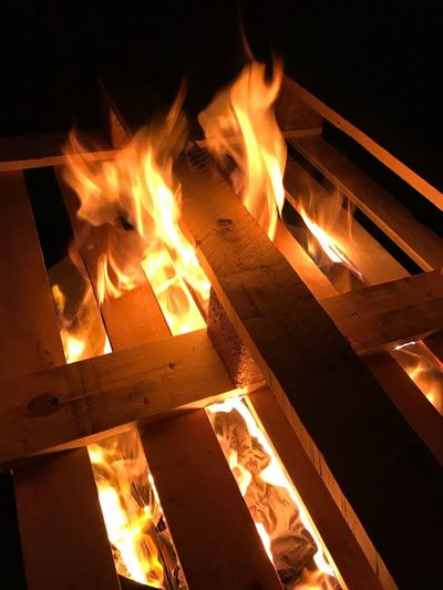 Flame Fire Burning Heat - Temperature Fire - Natural Phenomenon Wood Night Wood - Material Log Orange Color Nature Firewood No People Fireplace Outdoors Close-up