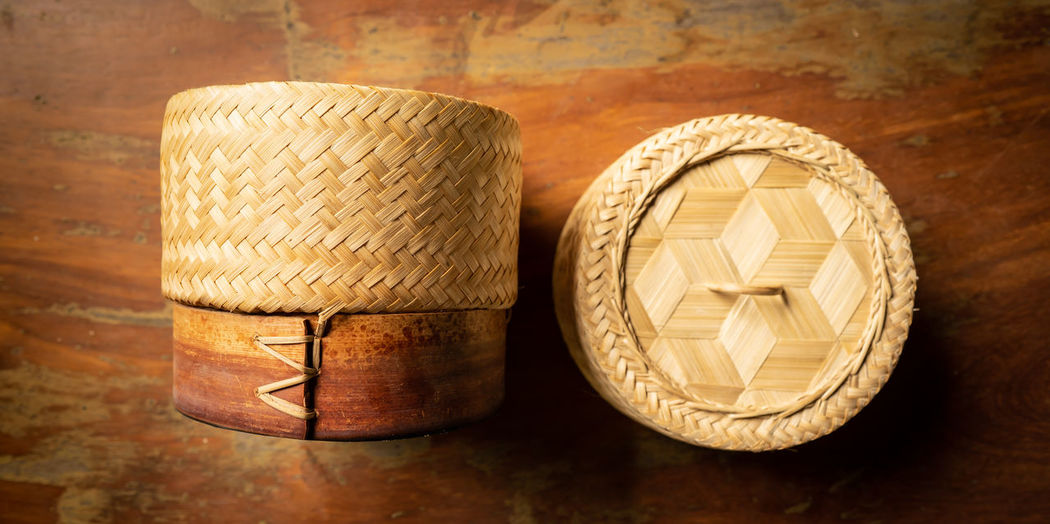 a basket use to keep sticky rice inside clean and warm Rice Containers Weave Art And Craft Basket Basketry Brown Close-up Container Craft Interlace Katip Man Made Thai Art & Craft Wood - Material
