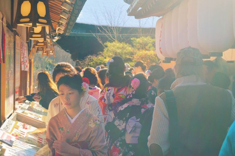 Hello World Taking Photos Winter Kyoto Kiyomizu-dera Real People Celebration Lifestyles Women Outdoors Tradition Leisure Activity Large Group Of People Men Day Cultures Crowd Adults Only Adult People (null)Japan 地主 じしゅじんじゃ